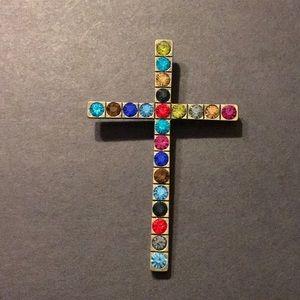 Large Multi-Colored Rhinestone Cross